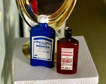 Miniature Medicine Bottles, Milk of Magnesia and Cough Remedy Syrup, Dollhouse Miniatures, 1:12 Scale, Dollhouse Accessories, Decor, Crafts
