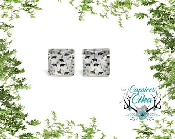 bear and fir square cabochon  earring set hypoallergenic stainless steel