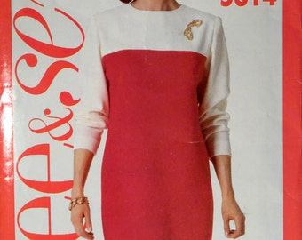 Butterick 5614 color block dress size 6 to 14.