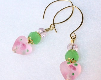 Pink Lampwork Hearts Earrings, Pink and Green Hearts and Flowers