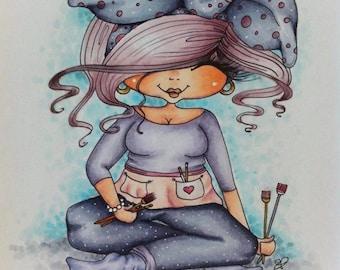 INSTANT DOWNLOAD Digital Digi Stamps Big Eye Big Head Dolls NEW Fluffy Artist Besties img209 My Besties By Sherri Baldy