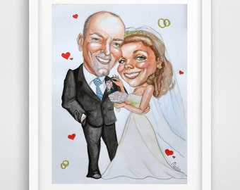 Custom Caricature Gift from photo personalized portrait character art by Moloriki watercolor painting to order Note: Price is per person