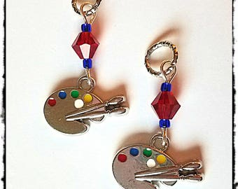 Hearing Aid Charms: Silver Artistic Paint Pallet with Glass Accent Beads!