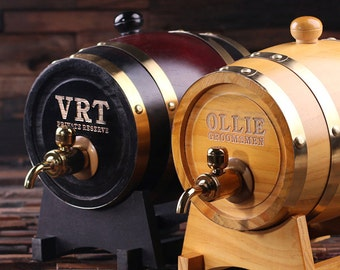 Set of 2 --- 1.5 L Personalized Whiskey Barrel Unique Groomsmen, Men's Christmas, Man Cave Gift