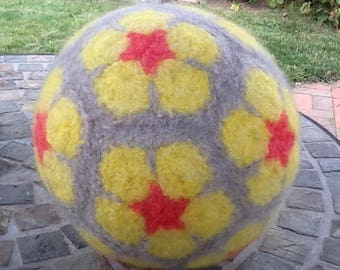 Flower patterned felted wool ball Waldorf inspired