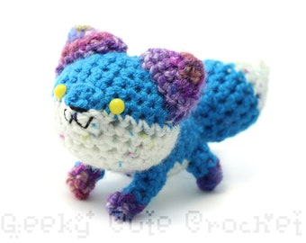 Colorful Blue Fox Plush Toy Animal Stuffie Amigurumi Crochet