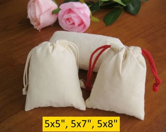 50 Drawstring Cotton Bags 5x5, 5x7, 5x8 Wedding Gift Bags Organza Bags Muslin Bag