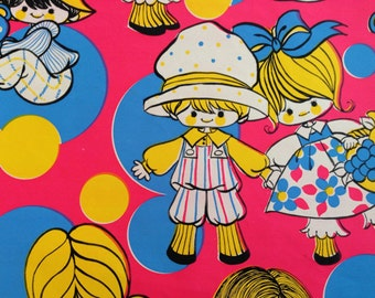 Vintage Gift Wrapping Paper - Groovy Polka Dots Girls and Boys with Toys - 1 Unused Full Sheet Birthday Gift Wrap