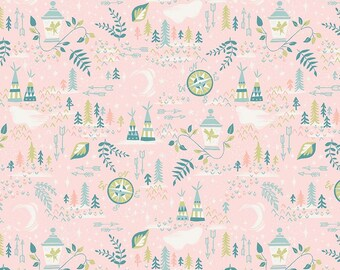 SALE Neverland Lantern Pink - Riley Blake Designs - Peter Pan Tinkerbell - Quilting Cotton Fabric - choose your cut