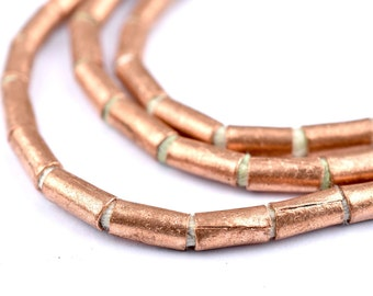 100 Ethiopian Copper Tube Beads: Oromo Jewelry Spacer Shaped 4mm Seed Large Hole Traditional Handmade Rustic African Boho (MET-TUB-CPR-461)