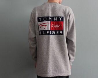 TOMMY HILFIGER sweatshirt vintage gray shirt, Tommy big logo 90s hip-hop clothing 1990s hip hop shirt, OG, gangsta rap, sewn, size L Large