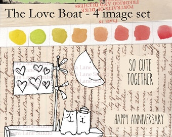 The Love Boat -- 4 digi image stamp set with whimsical cats in a boat with a moon and sentiments