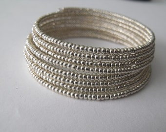 Silver Memory Wire Bracelet, Beadwork Bracelet, Coil Bracelet