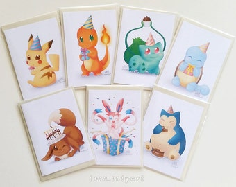 SET OF 7 Pokemon Birthday Cards - Pikachu, Charmander, Bulbasaur, Squirtle, Eevee, Sylveon, Snorlax [Blank inside]