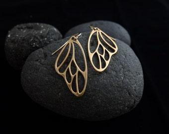 Butterfly Wing Dangle & Drop Earrings, butterfly wing earrings on gold, bronze butterfly earrings, wedding, bridesmaid gift
