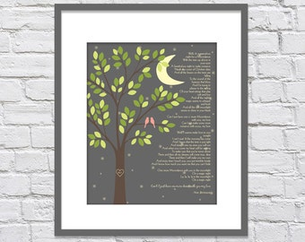Moondance by Van Morrison /Anniversary gift/ First Dance Song Lyrics/ Bridal Shower Gift/ Gift for Bride/ Love Birds on Branch - 8x10+
