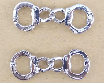 6 charms connectors pendants bc150 silver metal handcuffs