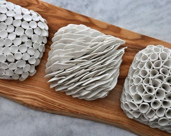 Set of 3 Wall Tiles - Micro Tile,  Ceramic Wall Tile,  Porcelain Wall Art, Ceramic Wall Sculpture