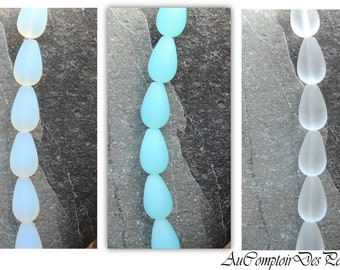 6 Teardrops Beads, cultured sea glass beads 16x10mm,