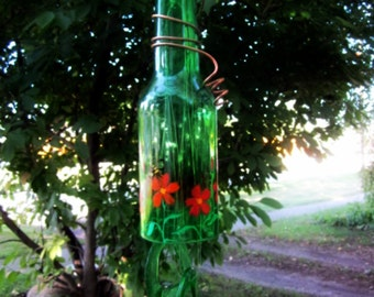Recycled Beer Bottle Wind Chime Green Bell Style