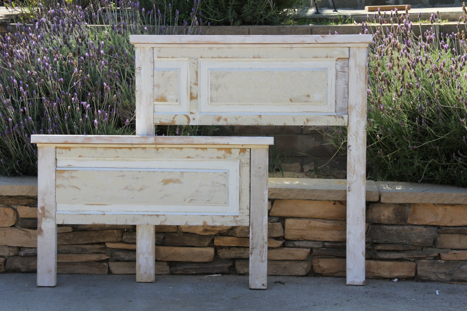 🔎zoom & Repurposed Wood Door Headboard and Footboard Ready To Ship By