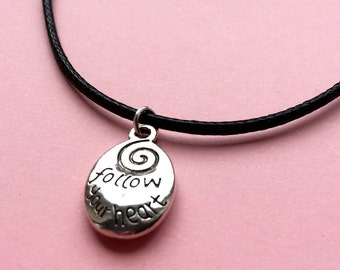 Silver follow your heart charm necklace - mantra quote inspiration motivation jewellery gift - black cord necklace - UK seller