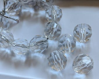 38 Clear Acrylic 12 mm Faceted Round Beads, Jewelry Supplies, DIY Jewelry Making, Craft Supplies,