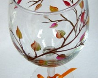 Wine Glass Fall Leaves Hand Painted