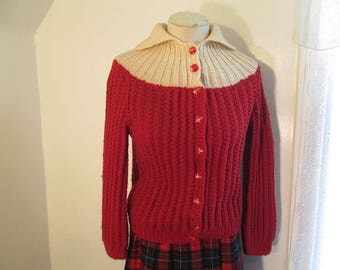 Vintage 60s Red and Beige Sweater handknit Wool Cardigan Rib knit Two tone Cardigan sweater S M