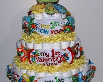 Baby's First Holiday Diaper Cake, First Holiday Baby Bib Diaper Cake, Holiday Diaper Cake, Diaper Cake Centerpiece, Baby Shower Diaper Cake