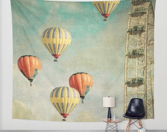 wall tapestry, large size wall art, wall decor, photo tapestry, balloons, wall hanging, hot air balloons, London Eye, whimsical tapestry