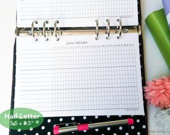 PRINTED Goal tracker - Habit tracker insert - Undated monthly task tracker - Daily routine log - Half letter size planner refill - 12H