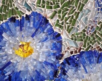 Blue Flowers/Small Mosaic Picture/Original Art work/Small wall decor/glass mosaic art/home decor/flower decor/flower art/mosaic wall decor