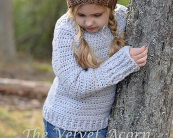 CROCHET PATTERN-The Lark Sweater (2/3, 4/5, 6/7, 8/9, 10/12, 14/16, adult Small, adult Medium, adult Large and adult X-Large sizes)