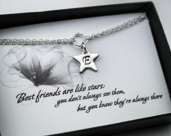 Personalized Friendship Bracelet - Tiny Initial Star Sterling Silver Bracelet - Bracelet with a Message Card
