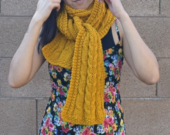 Cable knit scarf yellow mustard warm scarf vegan knits long hand knit scarf neckwarmer womens accessories gift for her gift for friend