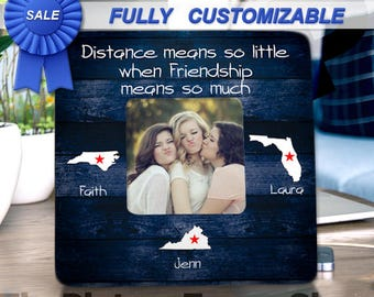 Three Best Friends Gift Long Distance Friendship Three Sisters Three Friends Long Distance Picture Frame Going Away Gift Moving Away Gift