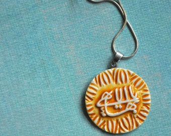 The Greatest Name--- handmade pottery pendant necklace- Orange and White