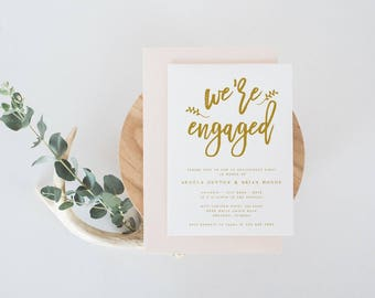 Engagement party invitation template were engaged gold were engaged modern engagement party invitation template engagement announcement template modern calligraphy template stopboris Gallery