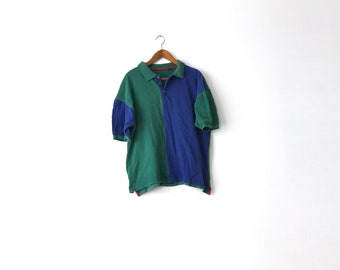 Colorblock Faded 90s Polo Shirt - Large / Gap Polo / Colorblock Polo / Color Block Polo / Polo Shirt / Gap Polo / Colorblock Polo Shirt