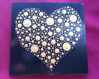 Gold Valentines Day heart Card