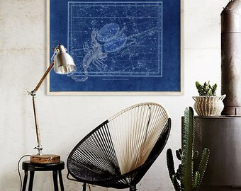 """Scorpio sign print 1822 Vintage Scorpio constellation zodiac star map, 4 sizes up to 36x30"""" 90x75cm Astrological - Limited Edition of 100"""