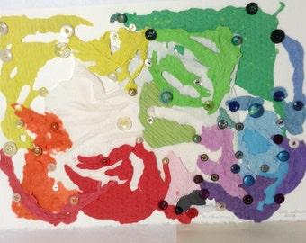 Contemporary Art - abstract - Handmade Paper - Rainbow Series - textured Paper - Button Art - Original - Unframed - recycled paper