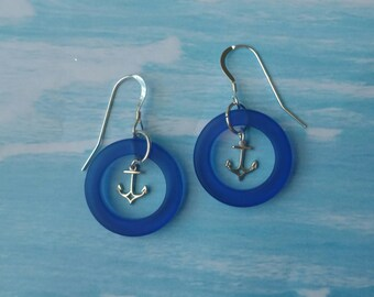 Sea Glass and Anchors Earrings, Beachy Earrings, Vacation Jewelry, Sterling Silver Anchors and Sea Glass Earrings