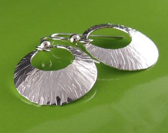Small Modern Round Textured Silver Earrings