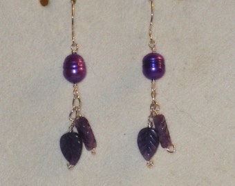 Purple Pearl and Amethyst Artisan Earrings.
