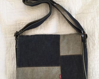 90s Vintage Levi's Shoulder Messenger Bag Denim Color Block Patchwork