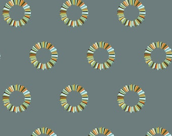 Tula Pink Acacia - Slate Pineapple Rings - 1/2 yard cotton quilt fabric 516