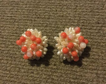 Pink and White Beaded Starburst Clip On Earrings