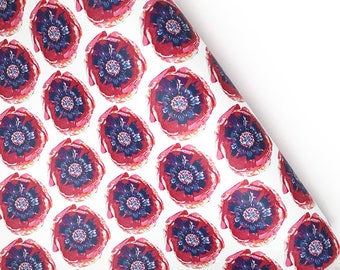 POPPY POP Wrapping Paper Sheets | Set of 3 Sheets | White, Blue & Pink | Custom Design Paper | A Portion of Proceeds go to Charity